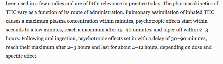 Time of onset and duration of action of cannabinoids