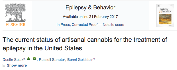 The current status of artisanal cannabis for the treatment of epilepsy in the United States