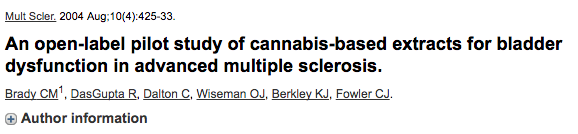 An open-label pilot study of cannabis-based extracts for bladder dysfunction in advanced multiple sclerosis.