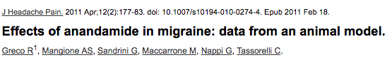 Effects of anandamide in migraine: data from an animal model.