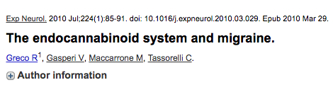 The endocannabinoid system and migraine.
