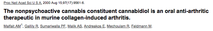 The nonpsychoactive cannabis constituent cannabidiol is an oral anti-arthritic therapeutic in murine collagen-induced arthritis.