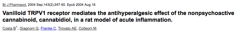 Vanilloid TRPV1 receptor mediates the antihyperalgesic effect of the nonpsychoactive cannabinoid, cannabidiol, in a rat model of acute inflammation.