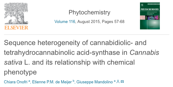 Sequence heterogeneity of cannabidiolic- and tetrahydrocannabinolic acid-synthase in Cannabis sativa L. and its relationship with chemical phenotype.