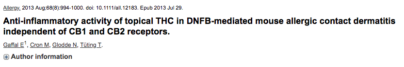 Anti-inflammatory activity of topical THC in DNFB-mediated mouse allergic contact dermatitis independent of CB1 and CB2 receptors.