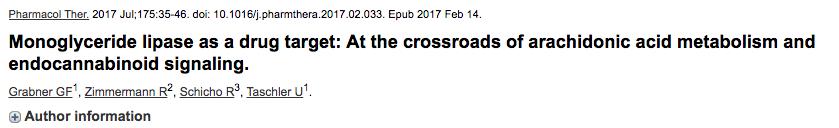 Monoglyceride lipase as a drug target: At the crossroads of arachidonic acid metabolism and endocannabinoid signaling.