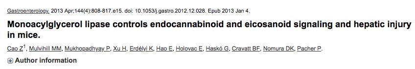 Monoacylglycerol lipase controls endocannabinoid and eicosanoid signaling and hepatic injury in mice.