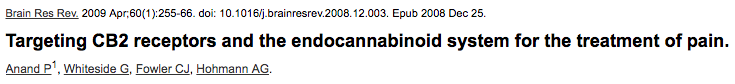Targeting CB2 receptors and the endocannabinoid system for the treatment of pain.