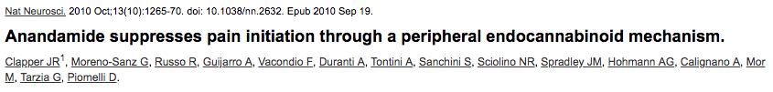 Anandamide suppresses pain initiation through a peripheral endocannabinoid mechanism.