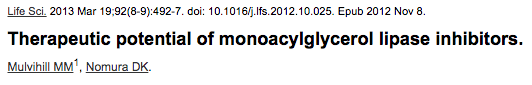 Therapeutic potential of monoacylglycerol lipase inhibitors.