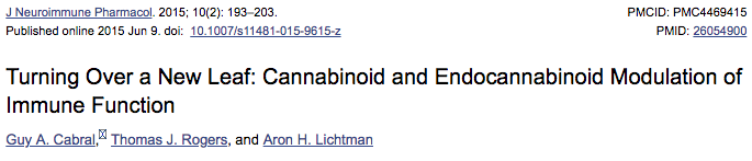 Turning Over a New Leaf: Cannabinoid and Endocannabinoid Modulation of Immune Function