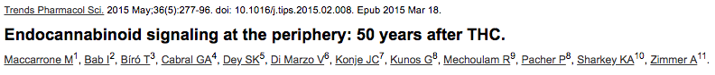 Endocannabinoid signaling at the periphery: 50 years after THC.