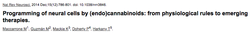 Programming of neural cells by (endo)cannabinoids: from physiological rules to emerging therapies.