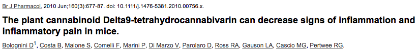 The plant cannabinoid Delta9-tetrahydrocannabivarin can decrease signs of inflammation and inflammatory pain in mice.