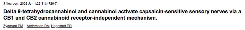 Delta 9-tetrahydrocannabinol and cannabinol activate capsaicin-sensitive sensory nerves via a CB1 and CB2 cannabinoid receptor-independent mechanism.