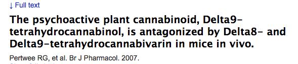 The psychoactive plant cannabinoid, Delta9-tetrahydrocannabinol, is antagonized by Delta8- and Delta9-tetrahydrocannabivarin in mice in vivo.