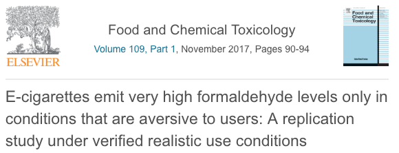 E-cigarettes emit very high formaldehyde levels only in conditions that are aversive to users: A replication study under verified realistic use conditions