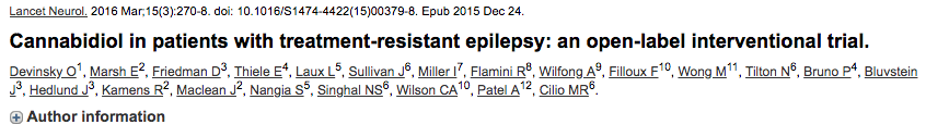 Cannabidiol in patients with treatment-resistant epilepsy: an open-label interventional trial.