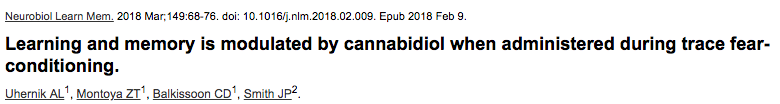 Learning and memory is modulated by cannabidiol when administered during trace fear-conditioning.p
