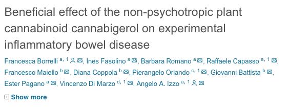 Beneficial effect of the non-psychotropic plant cannabinoid cannabigerol on experimental inflammatory bowel disease