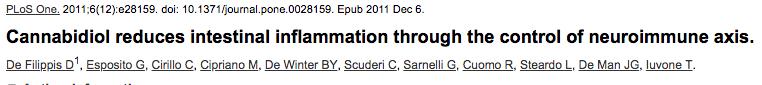 Cannabidiol reduces intestinal inflammation through the control of neuroimmune axis.