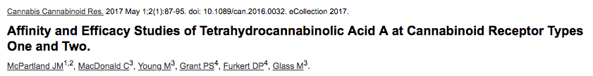 Affinity and Efficacy Studies of Tetrahydrocannabinolic Acid A at Cannabinoid Receptor Types One and Two.