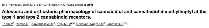 Allosteric and orthosteric pharmacology of cannabidiol and cannabidiol-dimethylheptyl at the type 1 and type 2 cannabinoid receptors.