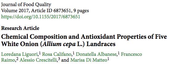 Chemical Composition and Antioxidant Properties of Five White Onion (Allium cepa L.) Landraces