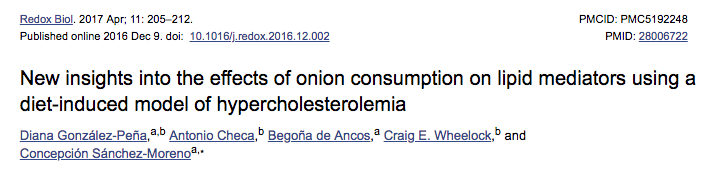 New insights into the effects of onion consumption on lipid mediators using a diet-induced model of hypercholesterolemia