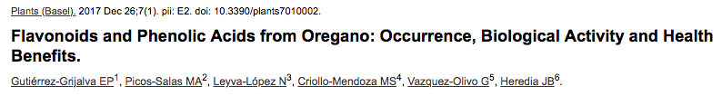 Flavonoids and Phenolic Acids from Oregano: Occurrence, Biological Activity and Health Benefits.