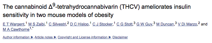 The cannabinoid Δ9-tetrahydrocannabivarin (THCV) ameliorates insulin sensitivity in two mouse models of obesity