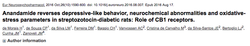 Anandamide reverses depressive-like behavior, neurochemical abnormalities and oxidative-stress parameters in streptozotocin-diabetic rats: Role of CB1 receptors.