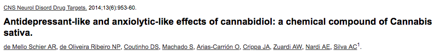 Antidepressant-like and anxiolytic-like effects of cannabidiol: a chemical compound of Cannabis sativa.