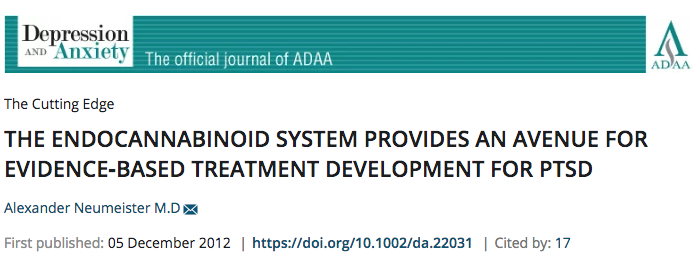 THE ENDOCANNABINOID SYSTEM PROVIDES AN AVENUE FOR EVIDENCE‐BASED TREATMENT DEVELOPMENT FOR PTSD