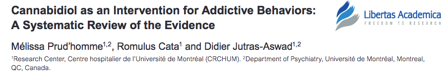 Cannabidiol as an Intervention for Addictive Behaviors: A Systematic Review of the Evidence