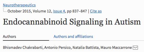 Endocannabinoid Signaling in Autism