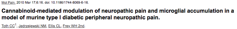 Cannabinoid-mediated modulation of neuropathic pain and microglial accumulation in a model of murine type I diabetic peripheral neuropathic pain.