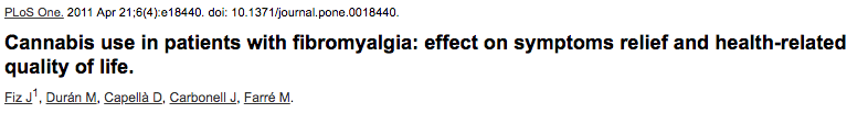 Cannabis use in patients with fibromyalgia: effect on symptoms relief and health-related quality of life.