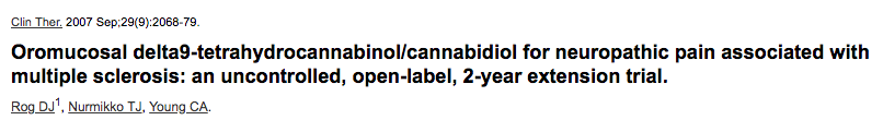 Oromucosal delta9-tetrahydrocannabinol/cannabidiol for neuropathic pain associated with multiple sclerosis: an uncontrolled, open-label, 2-year extension trial.